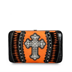 Western Wallet Orange/Black Cross Fringe