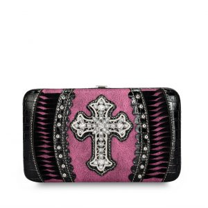 Western Wallet Purple/Black Cross Fringe