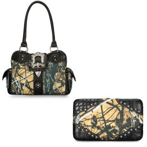 Moon Shine Camouflage Handbag & Wallet Combo Outshine Buckle