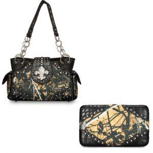 Moon Shine Camouflage Handbag & Wallet Combo Outshine Fleur De Lis