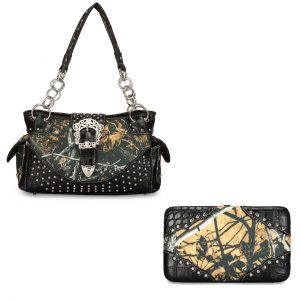 Moon Shine Camouflage Handbag & Wallet Combo Outshine Studded